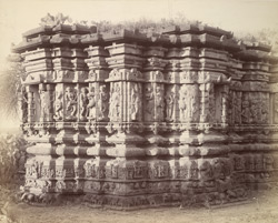 Close view of wall of shrine showing mouldings and sculpture, Lakshmi-Narayana Temples, Pedgaon